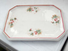 VINTAGE SMALL OBLONG TRAY    WITH A FLORAL PATTERN  NO MAKER