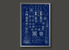 Soviet Soyuz Vintage Russian Rocket Blueprint Plans USSR Poster space cosmonaut