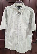 Marmot Short Sleeve Green Vertical Stripe Button Down Mens Shirt Sz Small