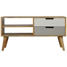 Media Unit Small Light Mango Wood Grey Storage Shelves Mid-century Scandinavian