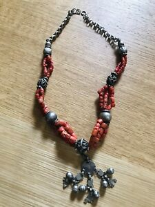 Antique Blood Coral And Silver necklace