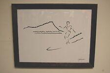 Hawaiian Duke Kahanamoku Sumi-e Surf Art by Dave C Reynolds Framed Original