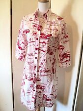 georges rechla dolce vita  shirt dress scooter riviera print red white