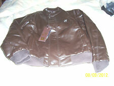 NEW WITH TAGS A EMPORIO COLLEZIONE MEDIUM BROWN LEATHER JACKET