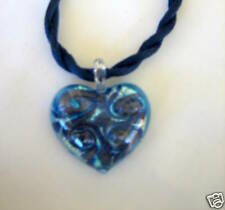 MURANO GLASS PUFFED HEART  PENDANT WITH SILK CORD