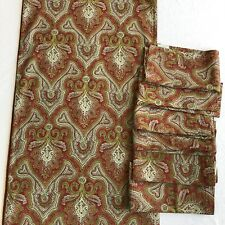 "Pottery Barn Red Paisley Set of 6 Napkins 20"" Square & Table Runner"