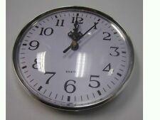 Silver Rim Quartz Clock Insert Arabic Numbers White Face Outside Diameter 131mm