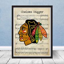 Chicago Blackhawks Chelsea Dagger Goal Song Music Art Hockey Decor Gift Print