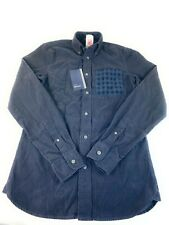New Fred Perry Mens Navy Blue Fine Cord Long Sleeve Shirt Rare Casual Top Sz XS