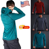 US POPULAR Men Long Sleeve Shirts Hooded Muscle Tops Casual Hoodie Basic T-shirt