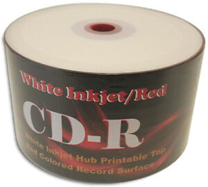 50-Pak WHITE INKJET/RED 52X 80-Min CDR's, Inkjet Hub Top, RED COLORED Bottom!