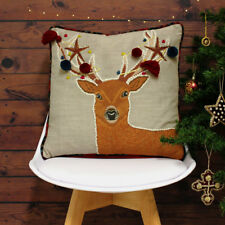 Riva Paoletti Artisan Christmas Stag Cushion Cover, Multi, 45 x 45 Cm