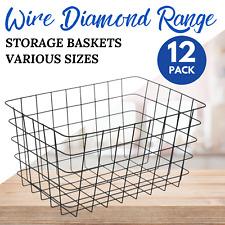 WIRE STORAGE BASKET White Black Various Sizes Kitchen Bathroom Home Organisation