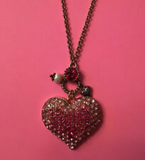 "BETSEY JOHNSON SPARKLING PINK CRYSTAL HEART PENDANT NECKLACE 30"" CHAIN GOLD"