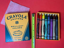 Vintage 1960s Crayola Crayons No. 38 Unused Box of 8 Large Made in Usa 60s Nos