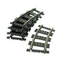 5x Lego Schiene alt-dunkel grau Kurve 9 V Eisenbahn Metall Gleis 2867