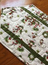 Handcrafted-Quilted Table Runner - Snowmen Family Enjoying the Forest Wildlife