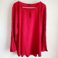 Ann Taylor Red Mixed Media Pleated Flare Sleeve Career Blouse Plus Size XXL