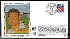 Mickey Mantle Usps 1995 Z Silk Cachet Envelope Mantle Honored