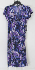 NWT Chaps Blue Violet Floral Cap Sleeve V-Neck Stretch Below Knee dress Women S