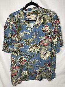 Tommy Bahama Island Modern Fit 100% Silk Button Front Short Sleeve Shirt Sz XL