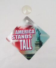 "NOS New 5""x5"" Statue of Liberty America Stands Tall Window Suction Cup Sign"