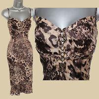 Karen Millen UK 8 Brown Leopard Print Silky Strappy Metallic Rings Detail Dress