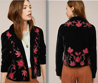 NWT Anthropologie ett:twa Embroidered Velvet Blazer Jacket S Black floral ($168)