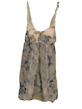 NWT Linea Donatella baby doll nighty floral open front Two Pc Set W/thong M