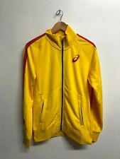 More details for asics men's track jacket teamwear olympic full zip jacket - yellow - new
