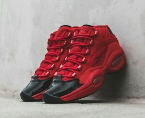 New Reebok Question Mid Basketball Shoes Allen Iverson Heart Over Hype Red-Black
