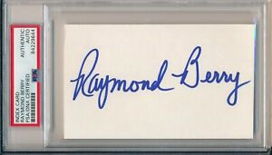 Raymond Berry Baltimore Colts HOF 1973 Signed 3x5 Index Card ~ PSA/DNA Slab