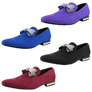 Amali Suede Slip On Loafers Tuxedo Smoking Slipper Designer Mens Shoes w Bow Tie