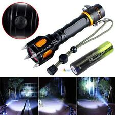 3000LM CREE XM-L T6 Safety Hammer Audible Alarm Flashlight + 18650 Battery MT