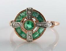 LOVELY 9CT 9K ROSE GOLD EMERALD DIAMOND ART DECO INS RING FREE RESIZE