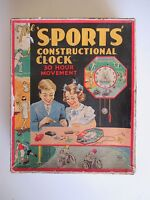 Boxed 1930's Sports Constructional Clock Soccer Tennis Cricket Speedway Sailing