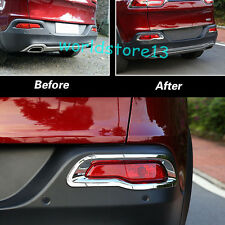 fit 2014-2018 Jeep Cherokee Rear Tail Bumper Fog lamp Light Chrome Cover Decor