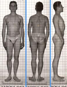 HOT PUBIC PEEK-A-BOO ~1940s 5x7 NAVY ID PHOTO NEAR NUDE JOCK SAILOR MAN gay #213