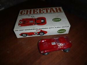 VINTAGE COX 1/24TH SCALE CHEETAH SLOT CAR WITH ORIGINAL BOX MADE IN USA L@@K