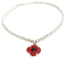 Remembrance Poppy 4 Petals Bead Stretch Bracelet Enamel Crystal Charity Donation