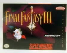 Final Fantasy III -SNES- Super Nintendo Replacement CASE v3 *NO GAME*