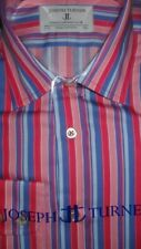 "Joseph Turner Shirtmaker 15.5/35 L"" 100% Baumwolle Variable Stripe Shirt Einzel Manschette"