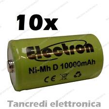 10pz Pila Batteria ricaricabile Ni-Mh NiMh torcia D 1,2V 10000mAh 10Ah torcione