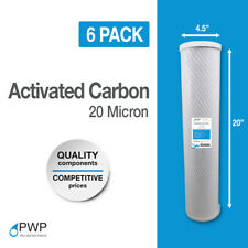 6 Pack 4.5 x 20 In Carbon Block Water Filter Whole House RO CTO 20 Micron