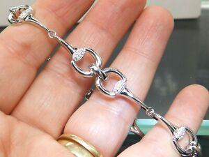 Silver Bracelet Snaffle Bit Horse Diamond 13.7 grams Solid 925 Sterling Silver