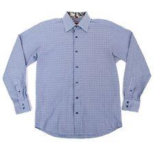 Luchiano Visconti Mens Button Down Dress Shirt Sz Medium Blue Plaid Contrast
