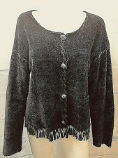 Brown Velour Sweater With Fringe Size Medium