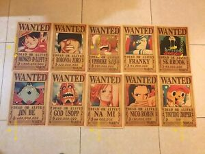 Anime One Piece Straw Hat Pirates Crew Wanted Posters 10 pcs/set HIGH QUALITY