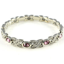 Ladies Magnetic Bracelet 8 Strong Magnets Bangle Silver Tone Womens Quality Light Yellow