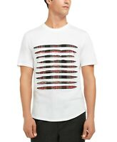 INC Mens T-Shirt Classic White Size XL Slashed Plaid Embellished Tee $39- #170